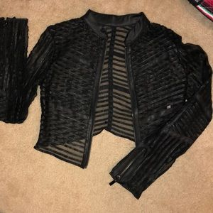 Jackets & Blazers - Caged Faux Leather Crop